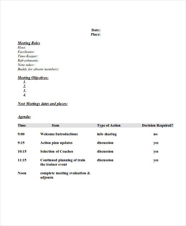 professional meeting agenda template1