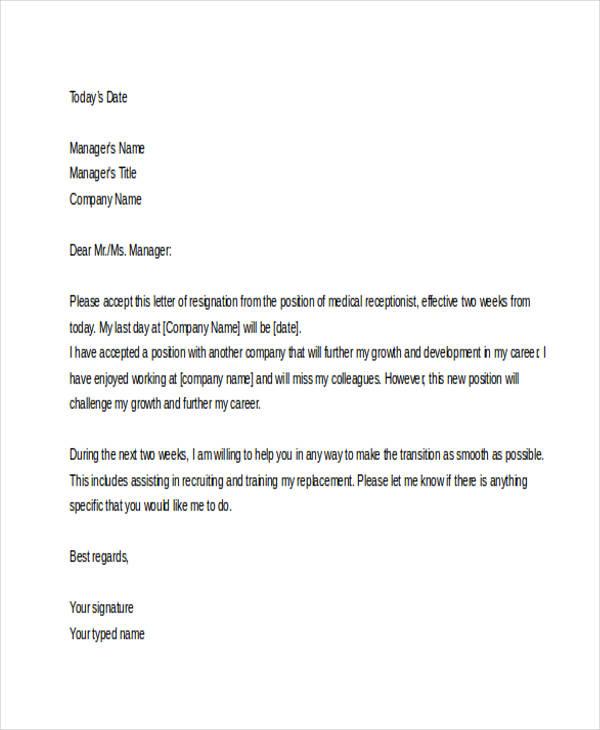 Sample Medical Resignation Letters 10 Free Sample