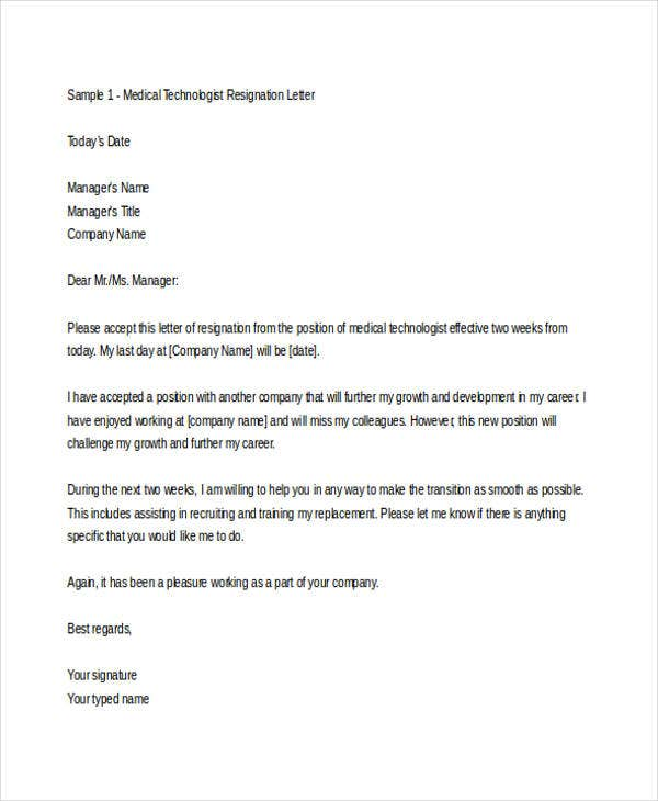Sample Medical Resignation Letters   Free Sample Example