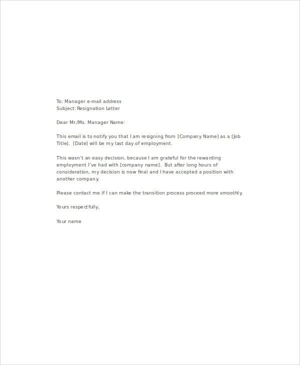 9 email resignation letter templates free word pdf