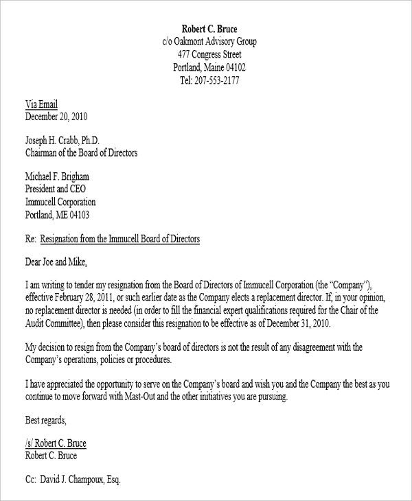 corporate board of director resignation letter