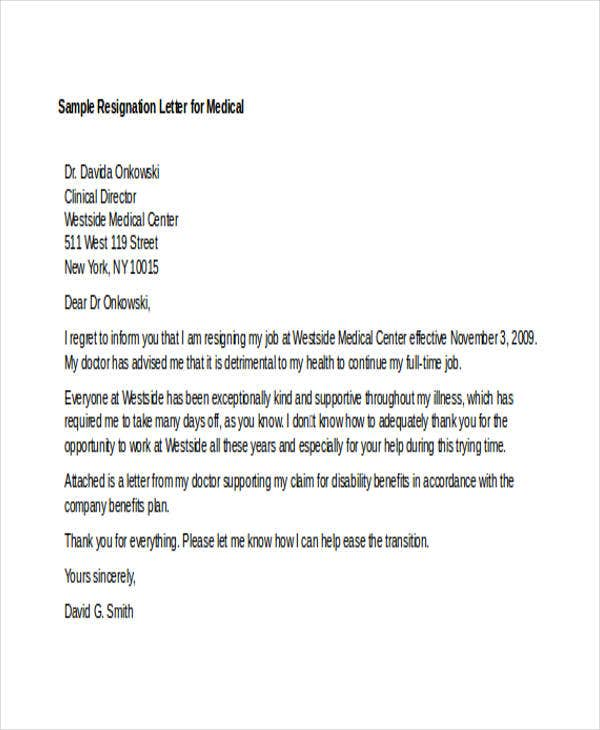 Sample Medical Resignation Letters  Free Sample Example Format