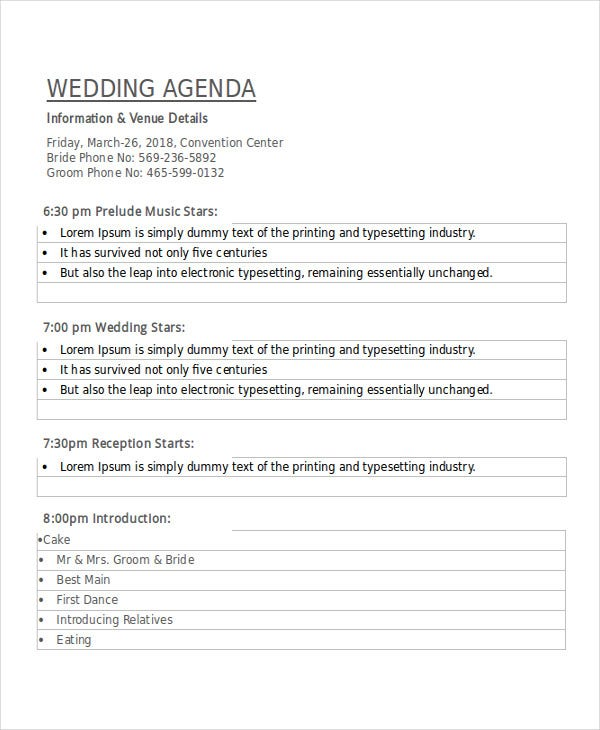 Wedding Planner Meeting Agenda