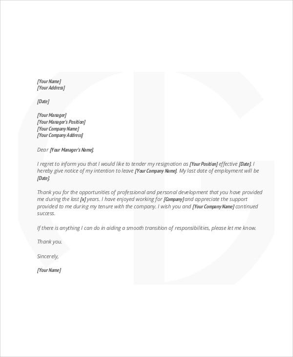 5+ Sample Thank-You Resignation Letters - Free Sample, Example