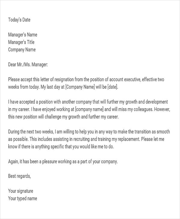 Corporate Resignation Letter Templates 8 Free Word PDF Format – Resignation Letter Executive