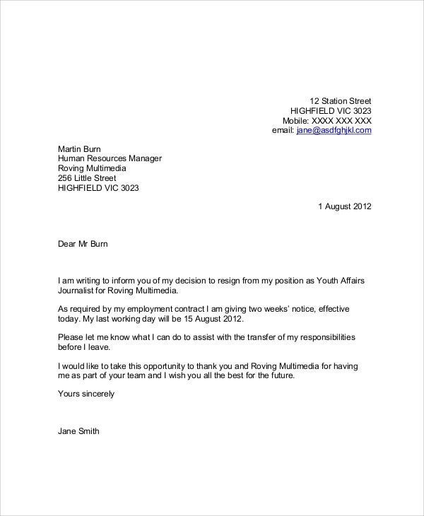 write letter of resignation