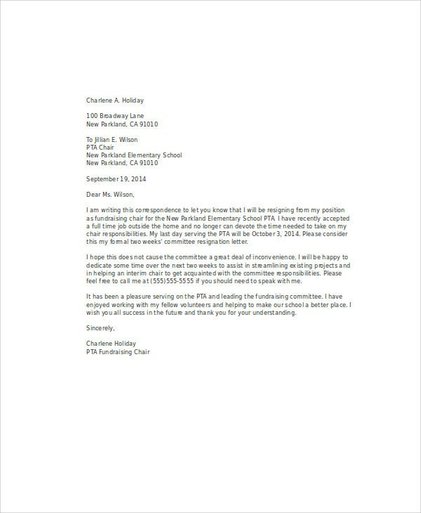 Volunteer Committee Resignation Letter