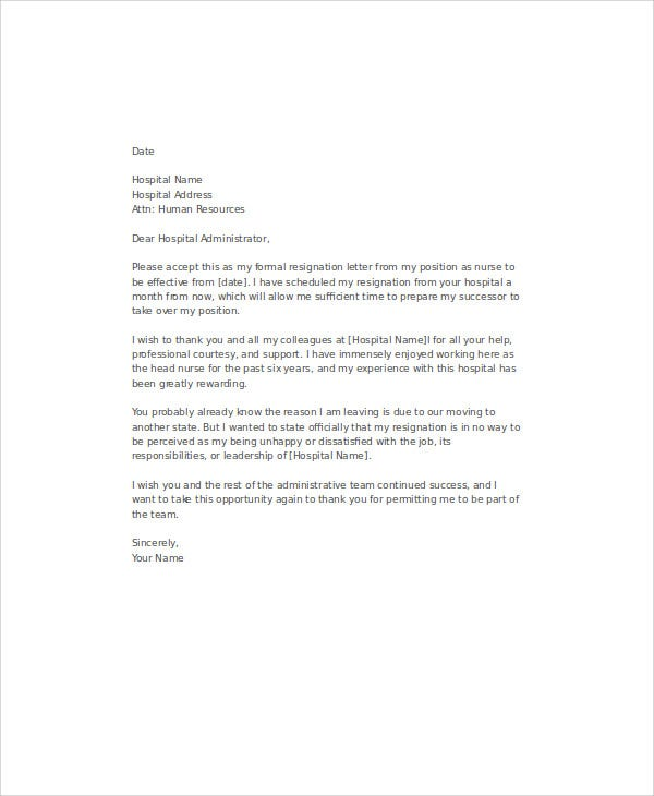 Resignation Letter Samples For Nurses Hospital Choice Image Letter Sample  Resignation Letter Sample Resignation Letter For