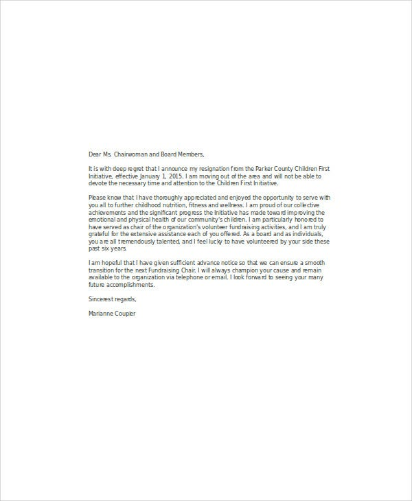 Volunteer Board Resignation Letter
