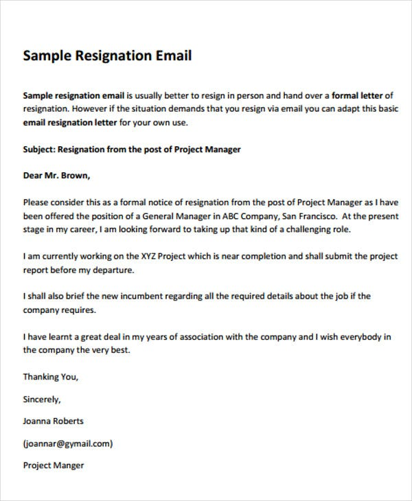 basic email resignation letter