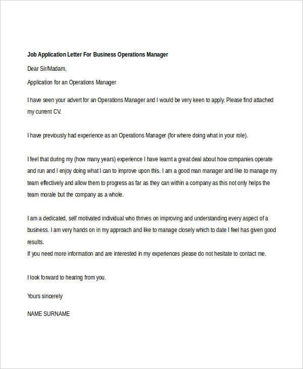 job application letter for business operations manager
