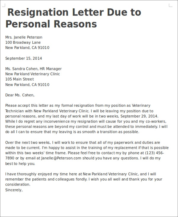Personal Reasons Resignation Letters Free Sample Example