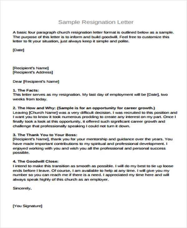free sample basic resignation letter
