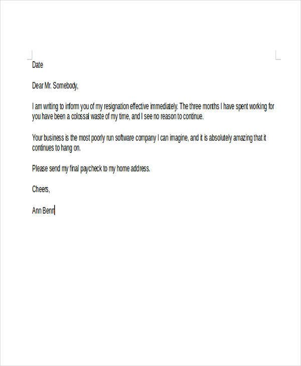 sample rude resignation letter