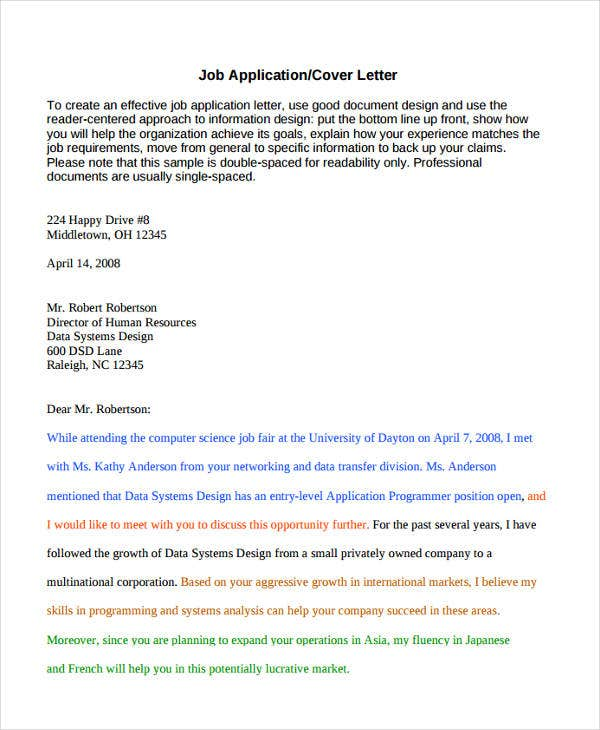 Letter Of Job Application In English