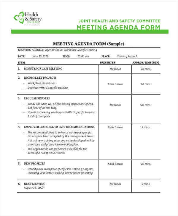 safety meeting agenda template4