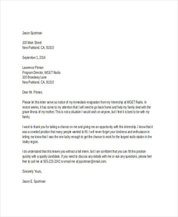 Sample Internship Resignation Letters  Free Sample Example