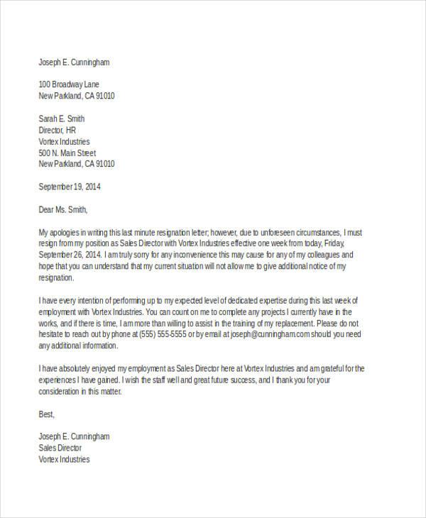 last minute job resignation letter