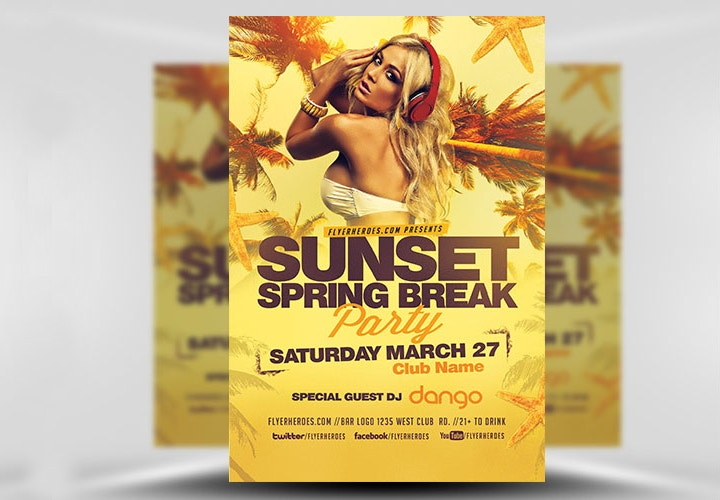 sunset spring flyer template