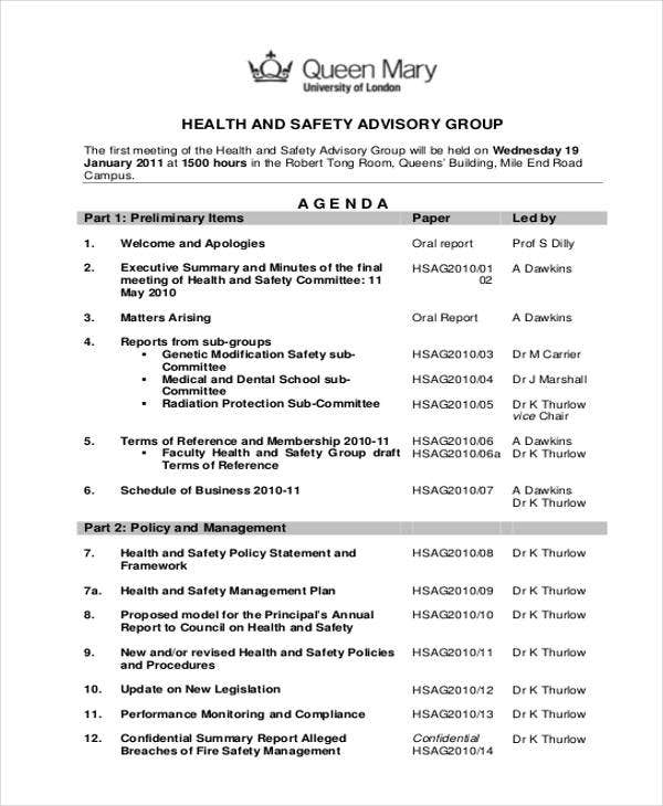 safety advisory group agenda