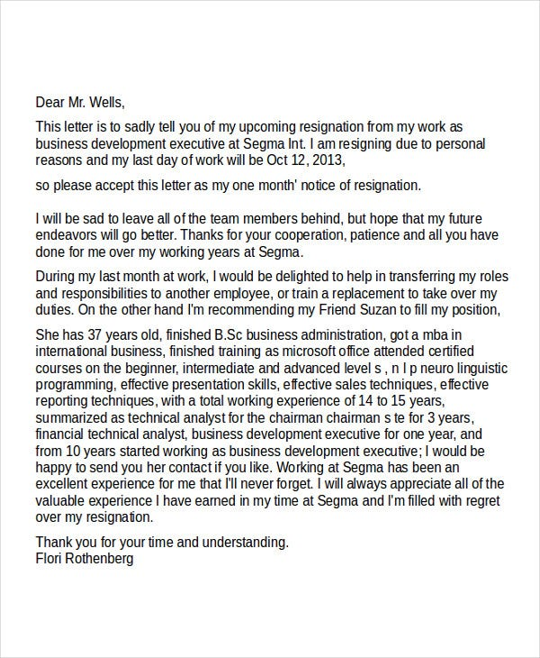 business development executive resignation letter
