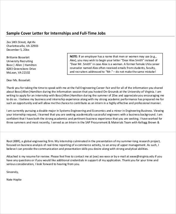 Job Position Application Cover Letter For Internship