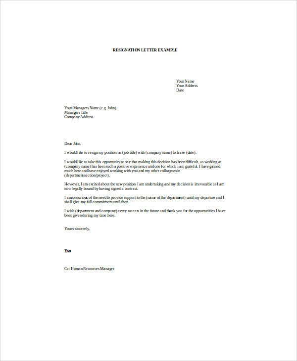 email resignation letter to hr2