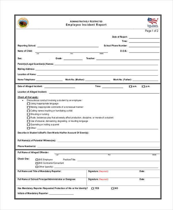 employee incident report