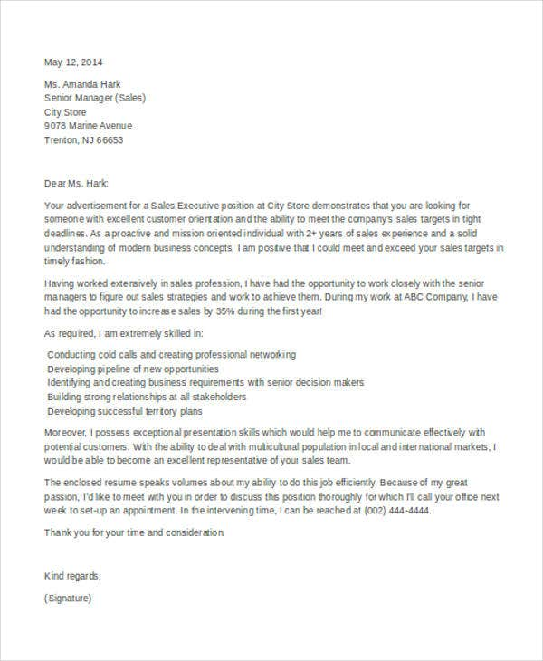 Application Letter For A Sales Executive Job - Sales Executive Cover ...
