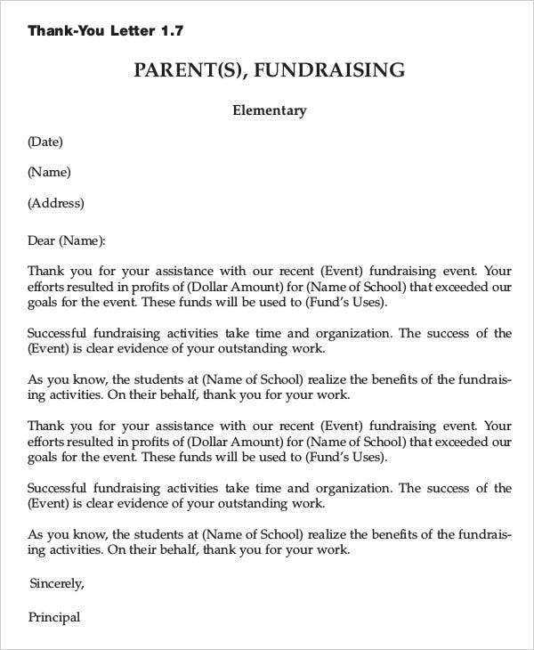 Fundraising Event Thank You Letter