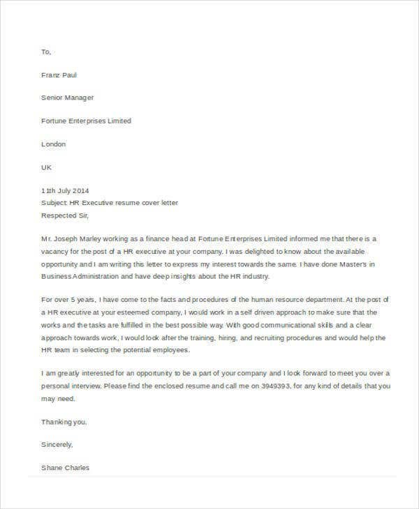 Application letter executive position 28 images how to for Cover letter for hr executive position