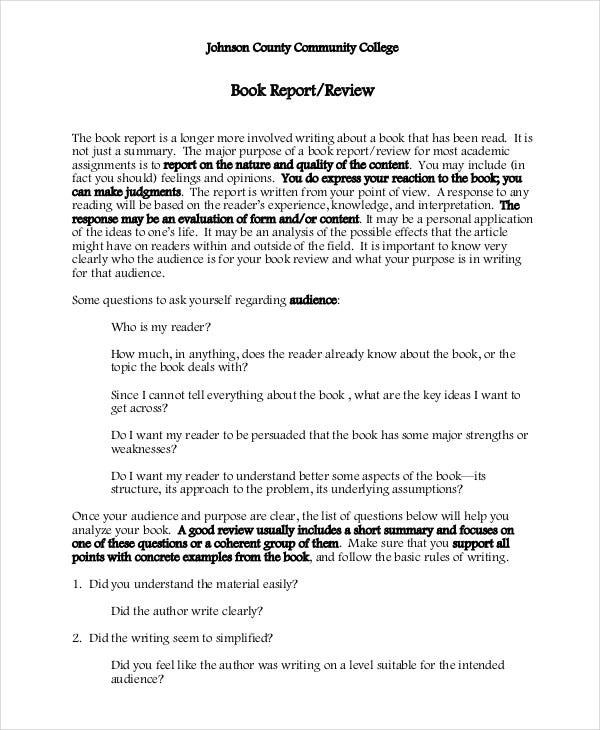 college book report