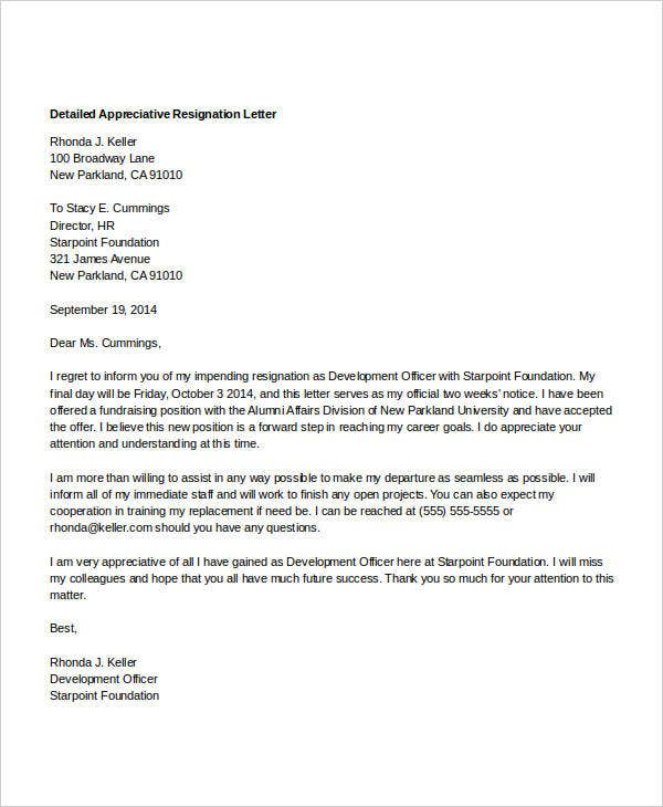 Appreciative Resignation Letters  Free Sample Example Format