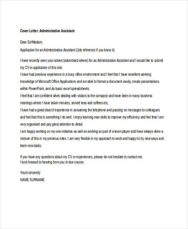 Job Application Letter For Administrative Assistant  Free