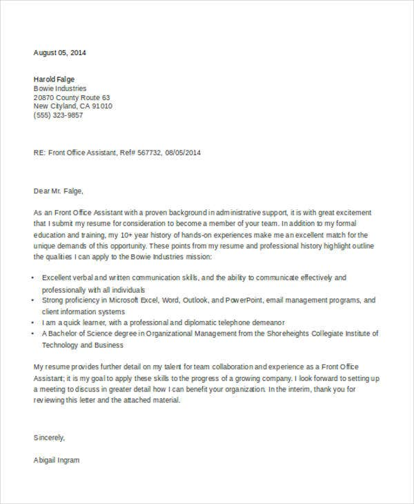 10  sample job application letter for executives