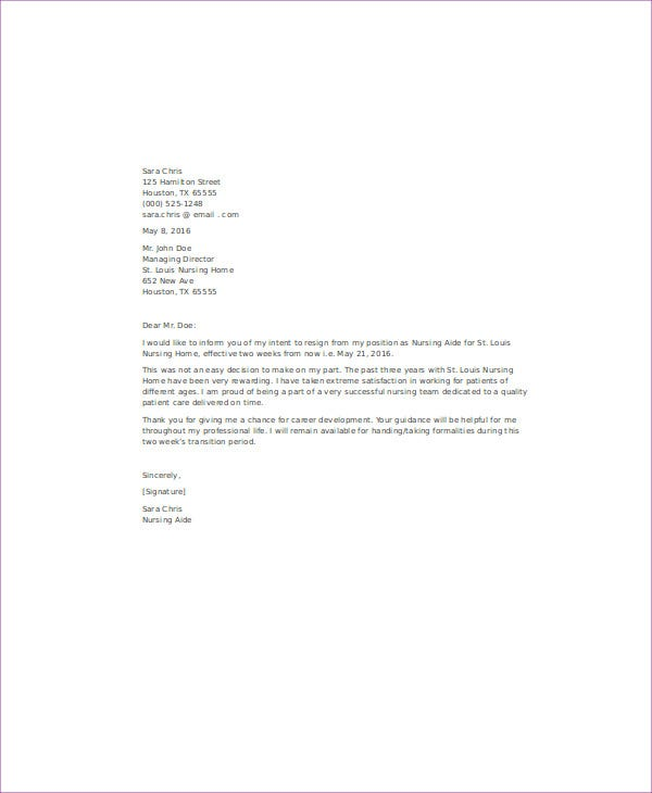 Nurse Aide Resignation Letter Sample