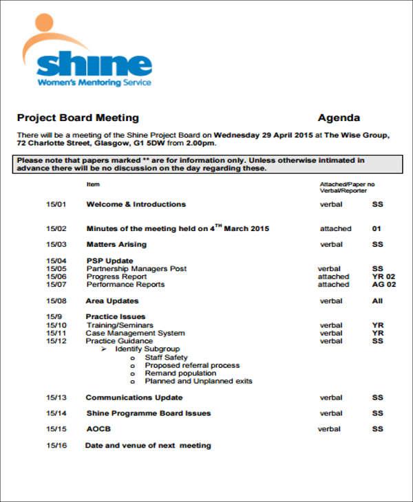 project board agenda