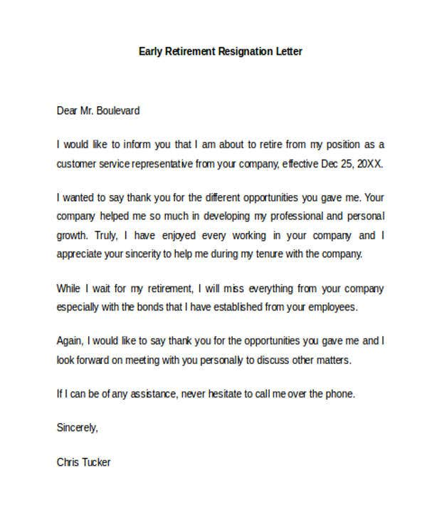 early retirement early retirement resignation letter