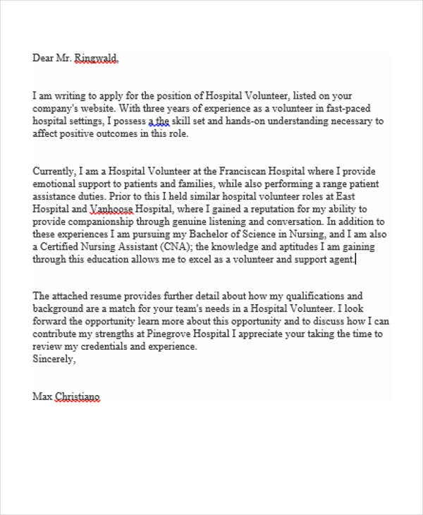 Job Application Letter For Hospital Volunteer  Cover Letter Examples For Nurses