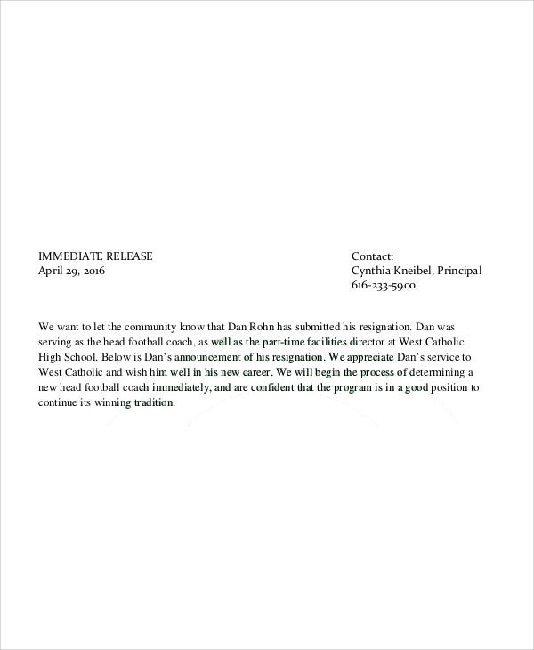 Coach Resignation Letters  Free Sample Example Format Download