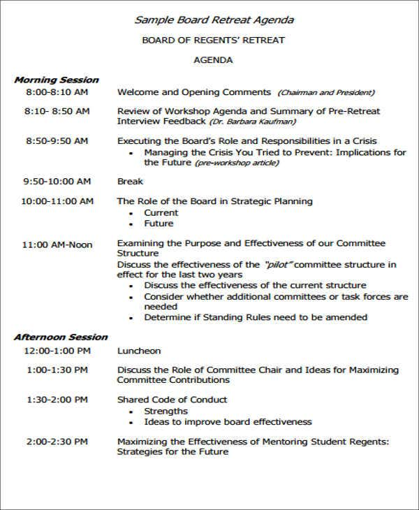 board retreat agenda