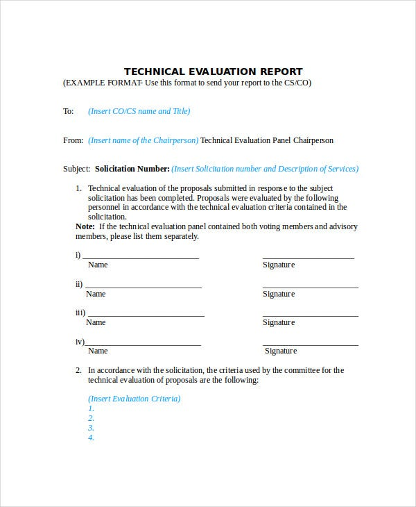 technical evaluation report