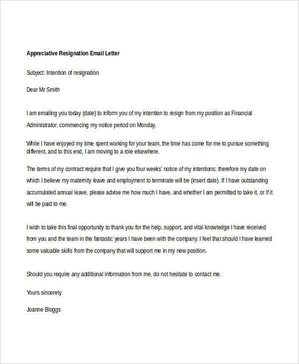 appreciative resignation email letter