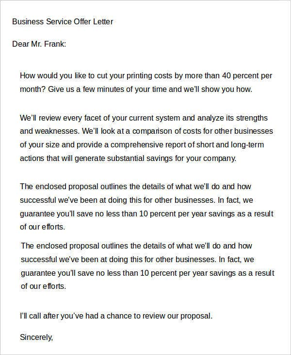 business service offer letter