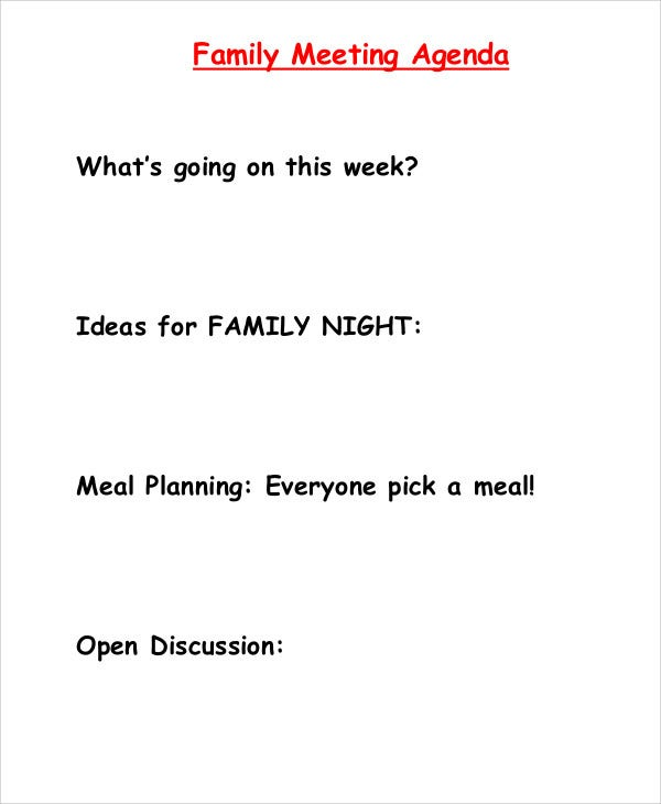 family meeting agenda template1