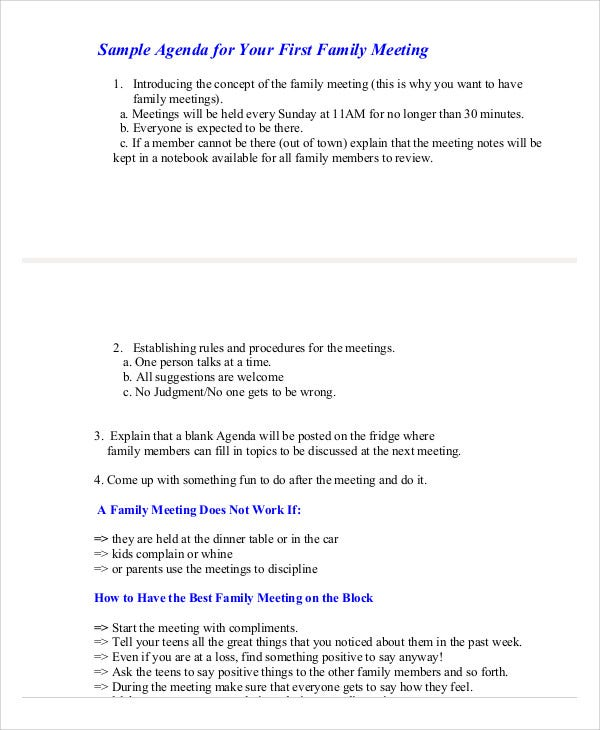 8+ Family Agenda Templates - Free Word, Pdf Format Download | Free