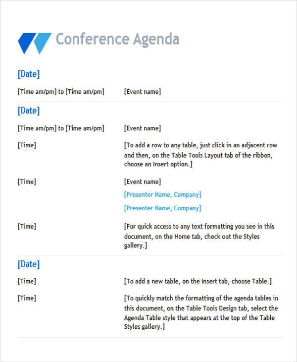 conference agenda outline template