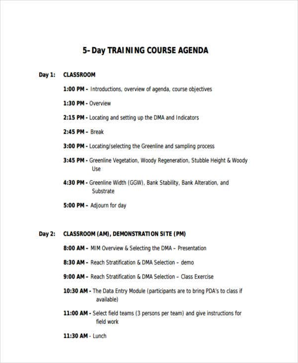 Sample Training Agenda Business Family Meeting Agenda Sample
