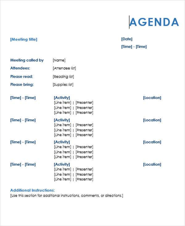 Formal Agenda Outline Template