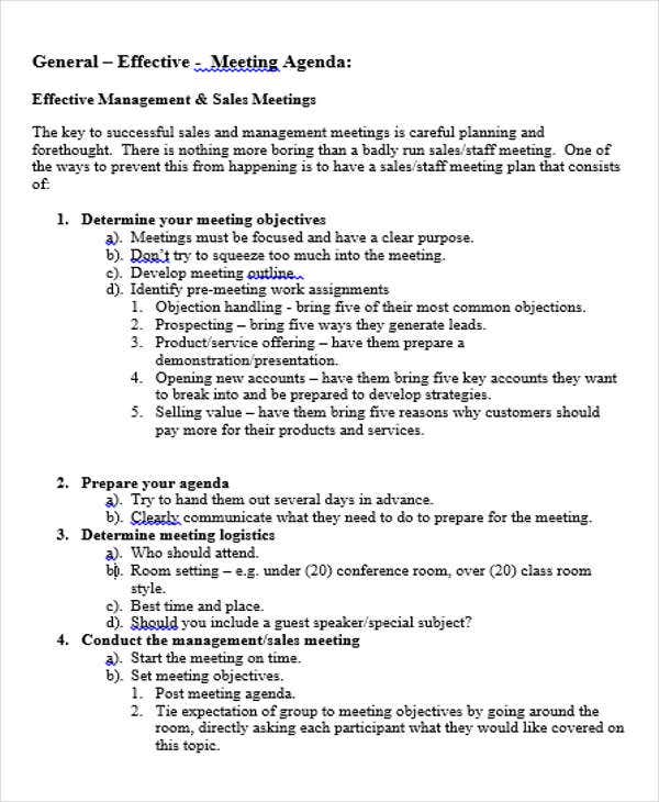 sales meeting agenda outline template